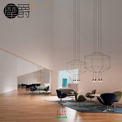 【美學】新款現代簡約時尚 展廳會議室 線條LED節能四邊形吊燈MX_1992