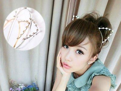 『現貨』日系超萌珍珠鑽石貓耳朵髮箍【YB0018】- 崔可小姐