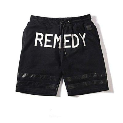 【HYDRA】REMEDY 春夏 PU 人工皮革 LOGO 印花 條紋皮革時尚 棉質 短褲 M L XL