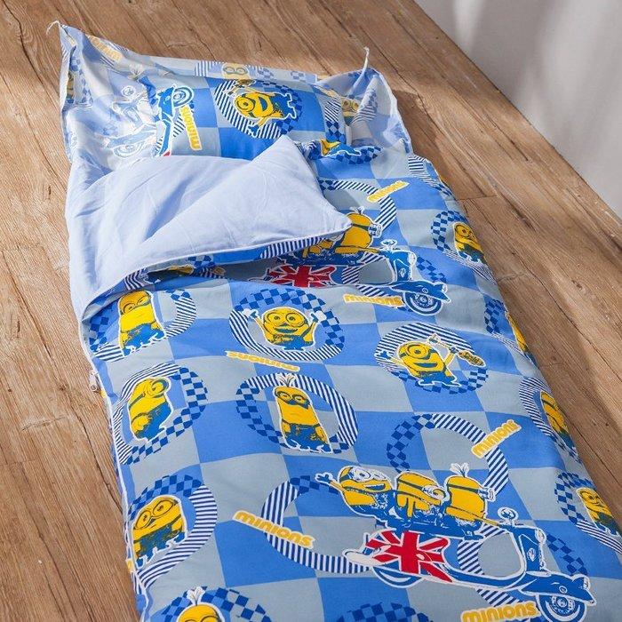 睡袋 / 兒童標準睡袋【小小兵壞蛋來了】標準幼教款  高密度磨毛布  戀家小舖台灣製ABF088