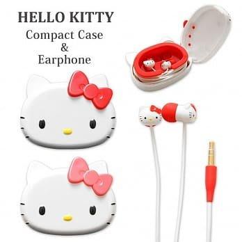 ☆韓元素╭☆ 正版【 Sanrio 三麗鷗 】 Hello Kitty 入耳式 造型耳機 質感 收納盒 紅色 線控 日本