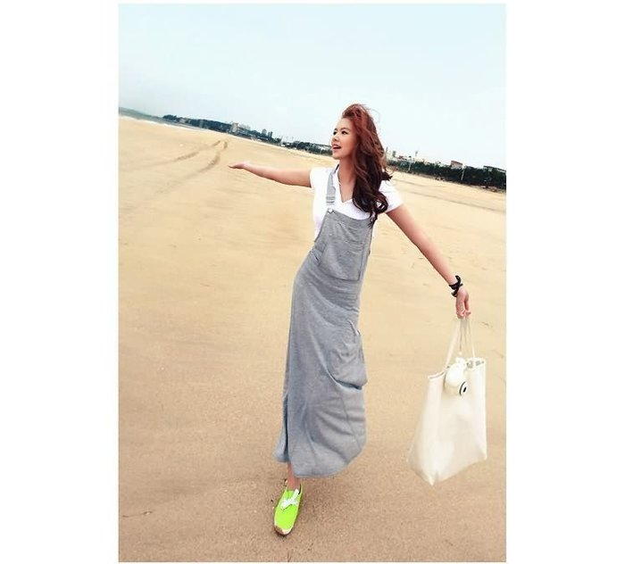 ☆Candy Box☆新款背帶連衣裙夏韓版時尚修身顯瘦裙子連體裙打底長裙 灰(S) W1912304