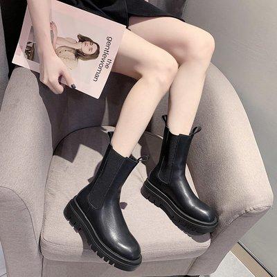 馬丁靴女厚底2020夏季新款韓版網紅百搭英倫風切爾西休閑中筒靴女