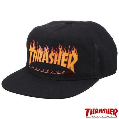 【THRASHER】 Flame Snapback Hat 帽子(黑色)