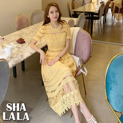 SHA  LA LA 莎菈菈 韓版氣質花邊領收腰鏤空大裙擺短袖連衣裙洋裝(S~XL)2019050512預購款