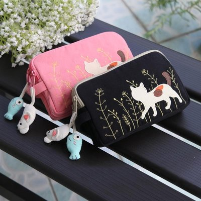 「I.do潮流館」 KINE貓正品 可愛風卡通純棉蘋果6P手機包袋手拿包三層拉鏈款女小包F7D9