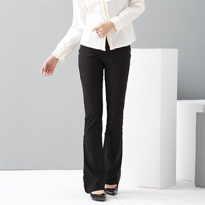 西裝褲--甜蜜性感與修長OL-超彈性中腰素面微喇叭基本款氣質長褲(黑.灰S-7L)-P17眼圈熊中大尺碼