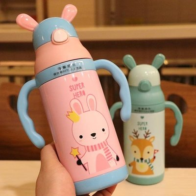 創意兒童保溫杯可愛卡通帶吸管兩用不銹鋼杯子幼兒園嬰兒防摔水杯