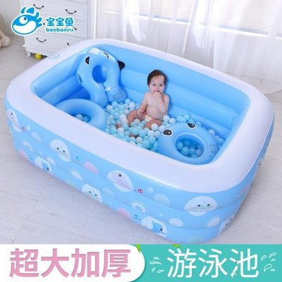 充氣泳池 嬰兒童充氣游泳池家庭寶寶成人小孩戲水池加厚家用海洋球池   全館免運