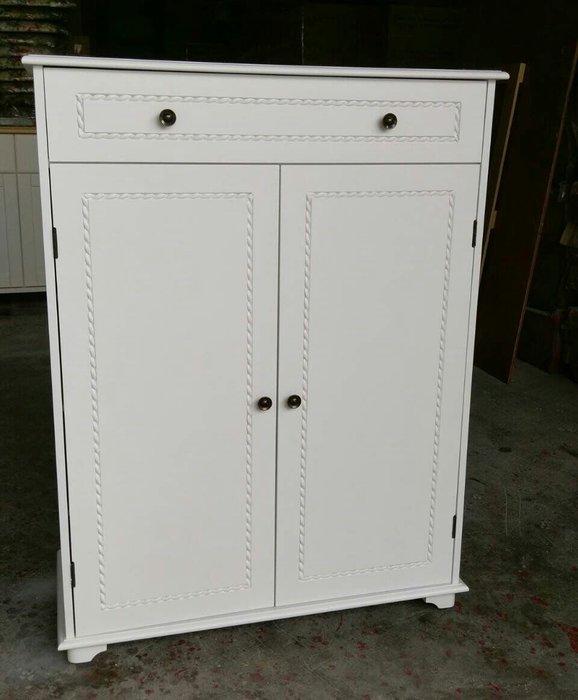 美生活館--新品上市--英式古典純白單抽雙門鞋櫃/收納櫃/玄關櫃/置物櫃