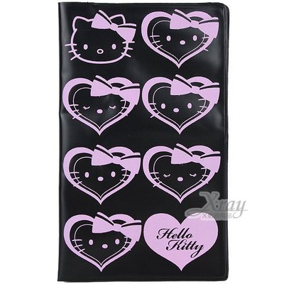 Kitty存款簿套(黑.愛心),票卡套/行李吊牌/票夾/多功能夾/悠遊卡,X射線【C098846】