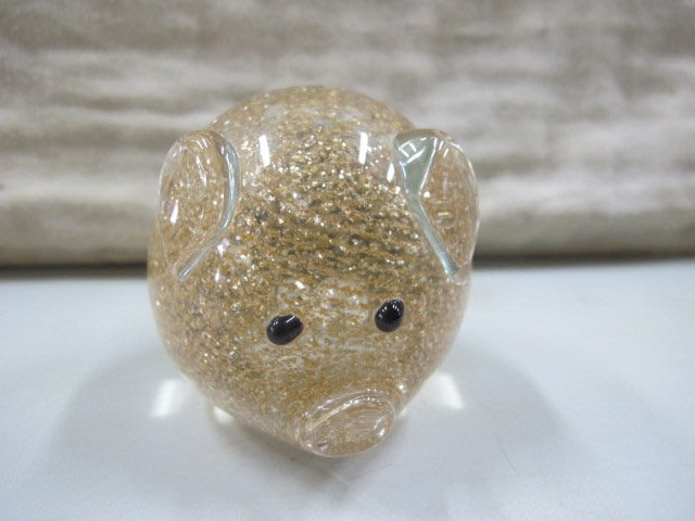 二手舖 NO.4246 手工琉璃擺飾 水晶琉璃可愛圓滿豬 諸事大吉 生肖豬