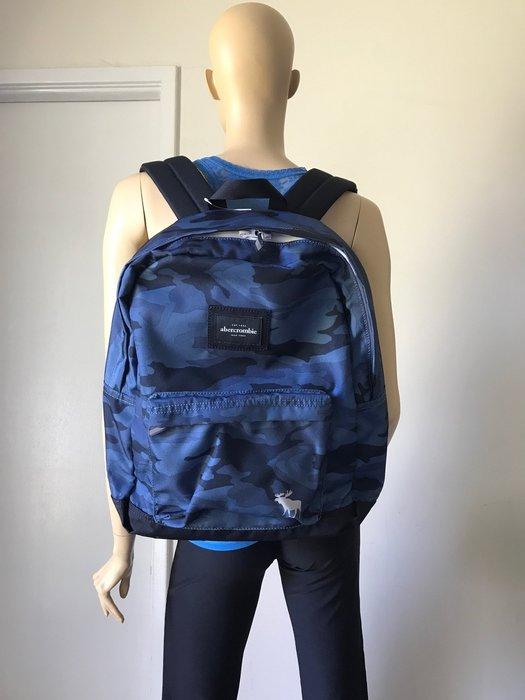 【天普小棧】abercrombie Kids a&f standard nylon logo backpack大款後背包