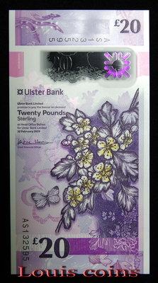 【Louis Coins】B1199-NORTHERN IRELAND-2019北愛爾蘭塑膠紙幣.20 Pounds