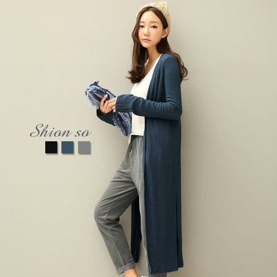 享瘦衣身中大尺碼【B3089】紐約時尚開衩長版外套