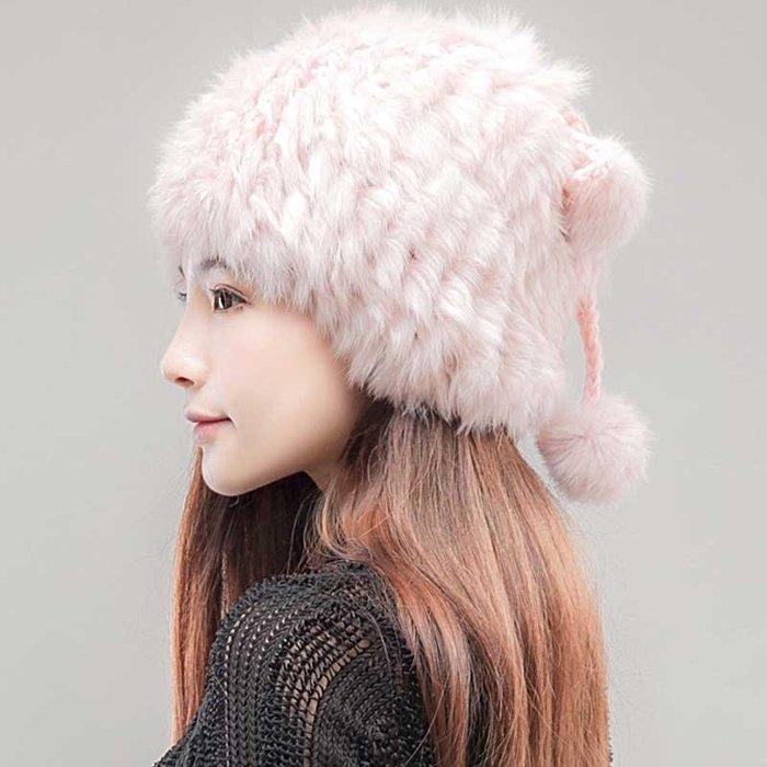 日本兔毛帽 撞色精緻保暖毛帽 兔毛帽子 秋冬針織毛帽 日本保暖帽子 日本保暖護耳毛帽  圍巾兩用