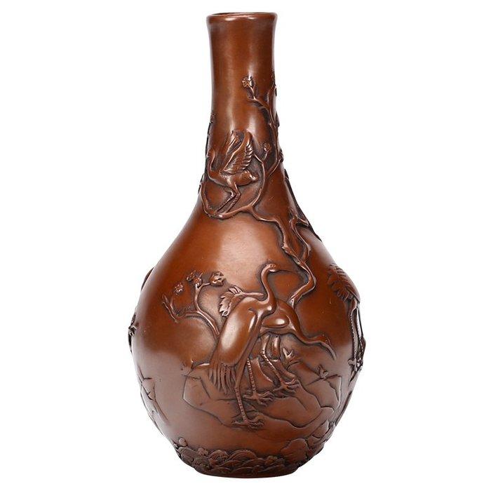 紫銅梅花紋花瓶家居風水裝飾品擺設工藝品純銅花瓶擺件