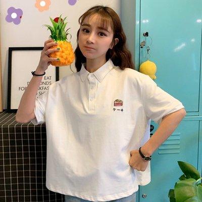 小香風 短袖T恤 時尚穿搭 女 韓版 學院風可愛刺繡寬松短袖T恤polo衫ins洋氣上衣