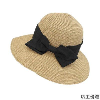 帽子女夏季日本蝴蝶結草帽韓版百搭海邊可折疊防曬遮陽帽