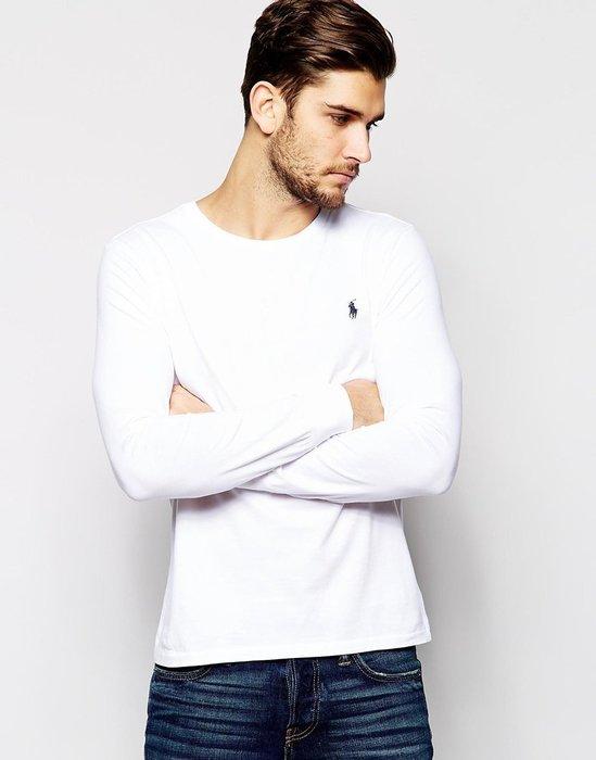 美國百分百【全新真品】Ralph Lauren RL polo 男生 小馬 長袖 棉質 T恤 素面 上衣 白色 XS S號 A161