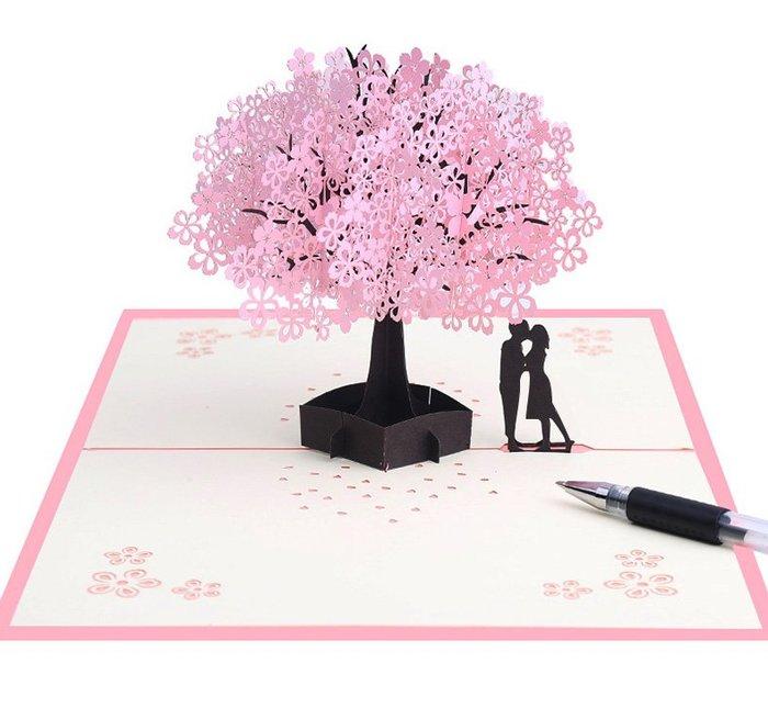 樂芙 七夕情人節 櫻花樹情人卡片 * 交換禮物 3D卡片 立體紙雕 手工卡片 情侶禮 迎賓卡 邀請卡 明信片 婚禮小物