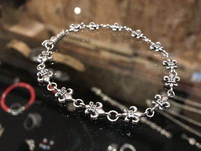 造夢師 手工製作【Chrome Hearts】【復刻】CH plus 迷你鳶尾花 S925純銀 手鍊/手環