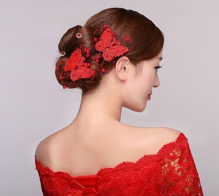 ((麻辣館))新款上市0327款新娘頭飾~髮飾 ~蝴蝶髮夾髮飾-單一支79--
