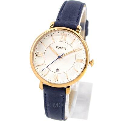 現貨 可自取 FOSSIL ES3843 手錶 36mm 玫瑰金 藍色錶帶 日期顯示 女錶