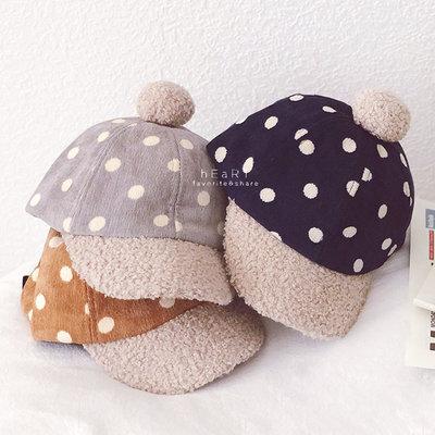 【媽媽倉庫】小點點絨毛鴨舌帽 童帽 帽子