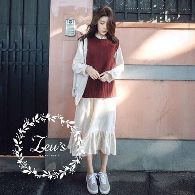【ZEU'S】韓國小氣質兩件套背心+長洋裝『 02119701 』【現+預】B