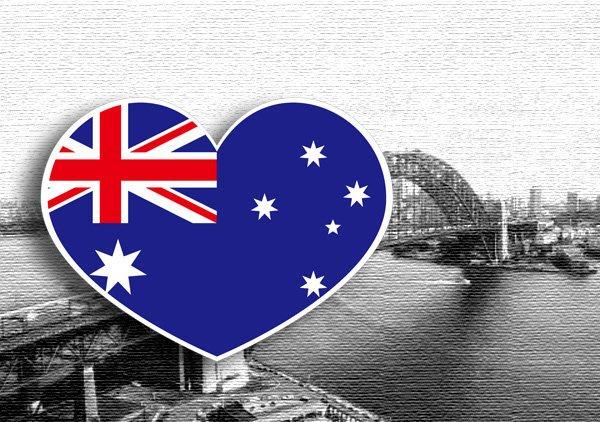 【國旗貼紙專賣店】澳洲愛心形旅行箱貼紙/抗UV防水/多國款可收集和客製