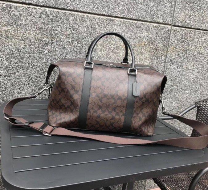 風格 COACH 全新正品 54776 新款PVC配牛皮材質大容量旅行袋  手提包 男包 咖啡色 全場特價 附購買證明