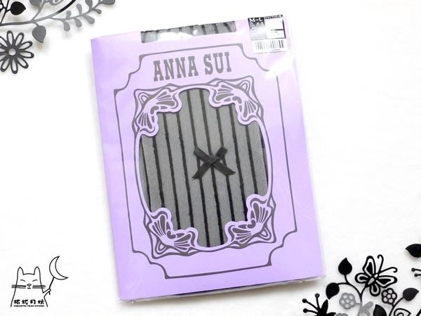 【拓拔月坊】ANNA SUI 褲襪 立體直紋 緞面蝴蝶結 日本製~現貨!