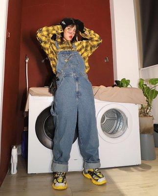 kuosey UN 嘻哈背帶褲女寬松2019新款韓版街頭秋冬網紅減齡闊腿牛仔褲女