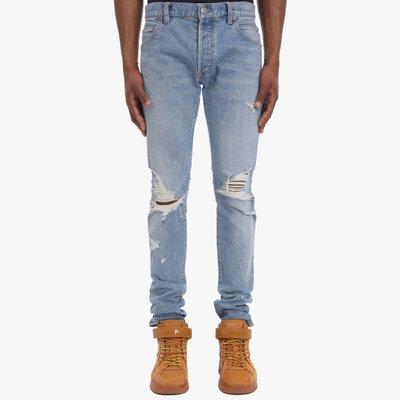 [全新真品代購-S/S20 SALE!] BALMAIN 膝蓋割破 藍色 牛仔褲