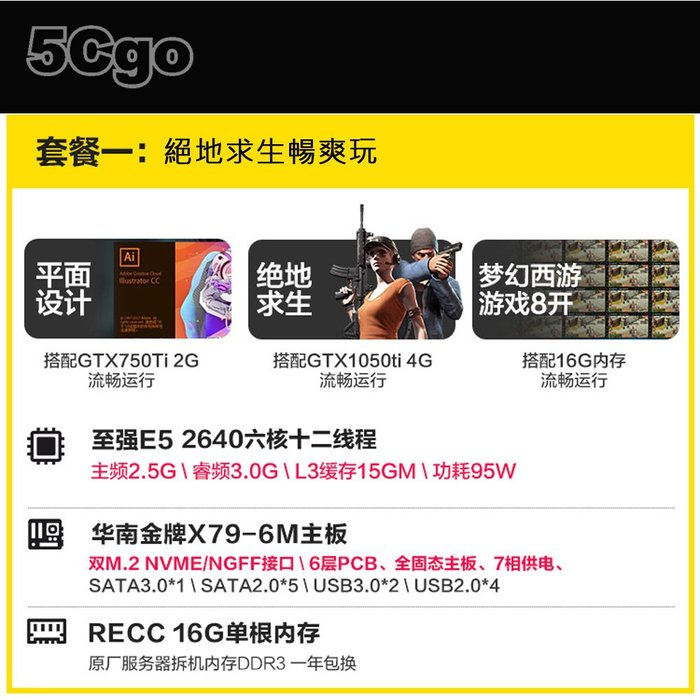 5Cgo【嘿倉】華南金牌X79主板cpu套裝2011針臺式機電腦主板四件套e5至強2680v2 套餐十二 含稅