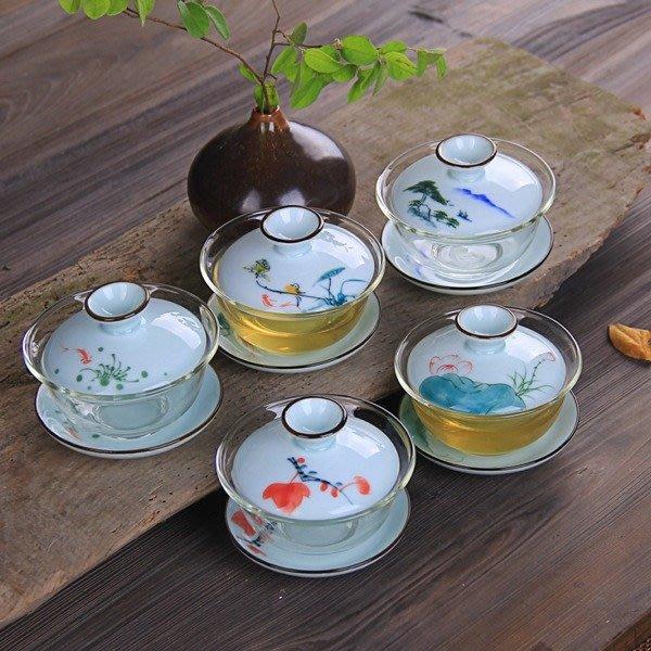 5Cgo【茗道】含稅會員有優惠 45039712455 手繪青瓷玻璃陶瓷蓋碗 三才青花耐熱玻璃碗功夫茶具敬茶杯主人杯