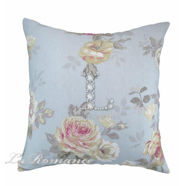 【芮洛蔓 La Romance】淺藍粉白玫瑰抱枕 / 靠枕 / 方枕 / 靠墊