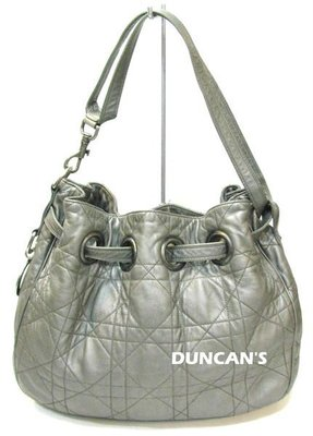 Christian Dior Cannage 銀灰色 小羊皮 肩背 側背 水桶包 束口包 ㊣ CD