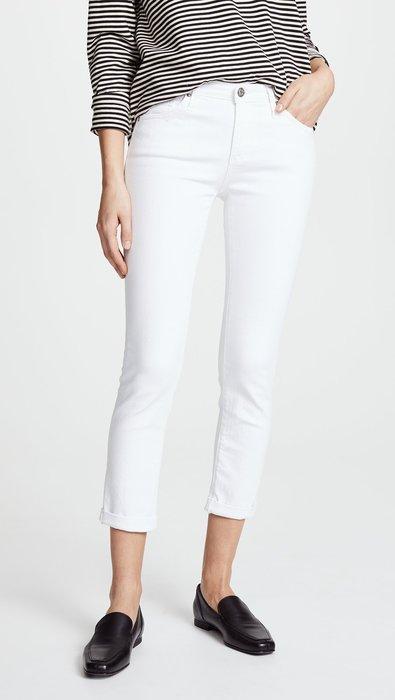 ◎美國代買◎AG The Prima roll up反摺褲口合身剪裁經典百搭白色合身七分牛仔褲