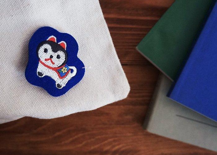 京都 日本製 電繡 不織布 可愛 吉祥物系列 貓 貓咪 鯛魚 別針