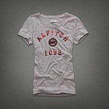 Maple麋鹿小舖 Abercrombie&Fitch * AF 灰色亮片徽章LOGO短T* ( 現貨S/M號 )