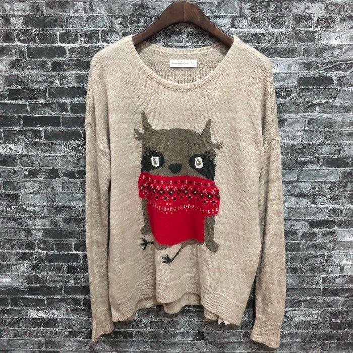 "Maple麋鹿小舖 Abercrombie&Fitch * AF 咖啡色針織圖樣亮片長袖毛衣* (現貨""M/L""號)"