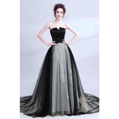 🐇寶貝兔-L9052 黑色禮服 晚宴婚紗 派對主持人 無袖 可訂做 婚禮婚宴 婚紗結婚禮服