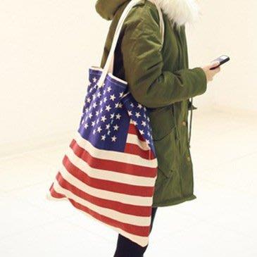 ☆Eric Zakka☆美國國旗印花帆布肩背包 休閒百搭單肩包 大號購物袋 (原色)【現貨】JH0843