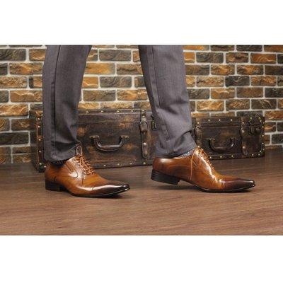 『老兵牛仔』YL-2022-10雕花拋色商務牛皮皮鞋/頭層牛皮/時尚/彈力/耐摩/個性