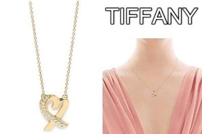 【芬芳時尚】TIFFANY Tiffany & Co蒂芬尼交叉愛心18K金750金色鑽石項鍊Loving Heart pendant