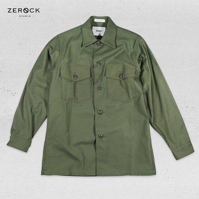 《ZEROCK》WTAPS EX37 BUDS LS 02 SHIRT COTTON SATIN 橄欖綠 硬挺襯衫 S號