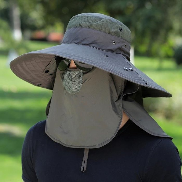 可開發票 釣魚帽子男遮陽帽夏季戶外防曬太陽帽 『日聚佳』