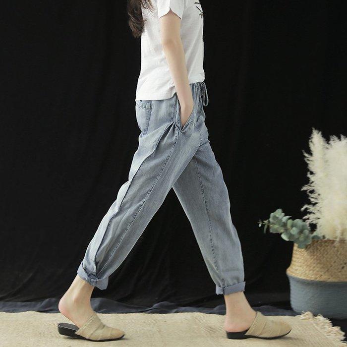 ♥極簡棉麻♥天絲牛仔哈倫褲女2019夏季新款寬鬆復古文藝鬆緊腰女褲